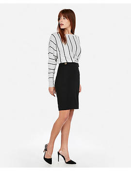 High Waisted Tab Button Pencil Skirt by Express