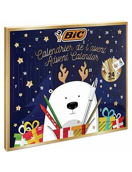 Bic Advent Calendar   24 Writing Products, 6 Magic Felt Pens/6 Coloured Pencils/4 Colouring Crayons/1 Glue Tube/1 Graphite Pencil/1 Eraser/3 Ball Pens, 24 Postcard & 20 Stickers To Colour by Bic