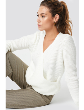 Crossed Knitted Sweater Ecru by Na Kd