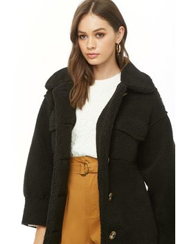 Faux Shearling Button Front Coat by Forever 21