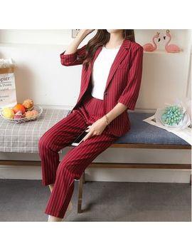 May Fair   Set: Striped Blazer + Dress Pants by May Fair