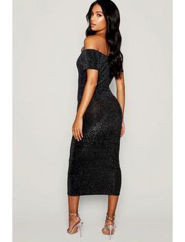 Tall Shimmer Off Shoulder Midi Dress by Boohoo