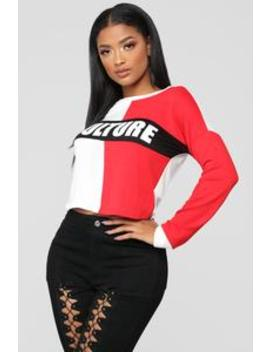 Know Your Culture Top   Red/Combo by Fashion Nova