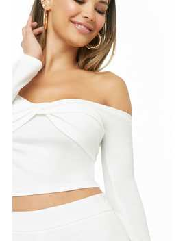 Off The Shoulder Twisted Crop Top by Forever 21