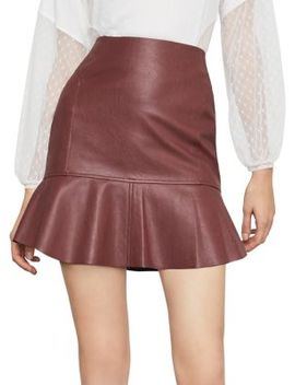 Faux Leather Flounced Skirt by Bcbgmaxazria