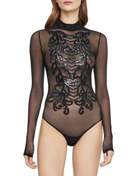 Mockneck Sequin Bodysuit by Bcbgmaxazria