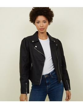 Black Puff Sleeve Leather Look Jacket by New Look