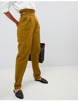 Asos Design Tall Paper Bag Waist Trousers In Mustard by Asos Design