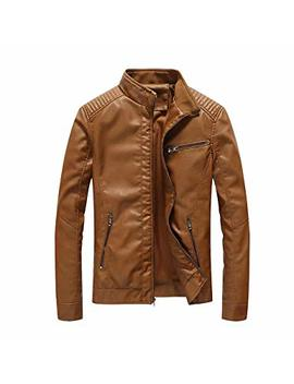 Ween Charm Mens Leather Jacket Stand Collar Pu Faux Motocycle Jacket by Ween Charm