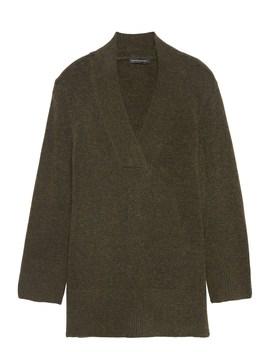 Plush Wool Blend V Neck Tunic Sweater by Banana Repbulic