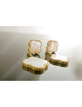 Arpels White Mother Of Pearl Earrings From An Alhambra 18k Yellowon Gold Clover Gold by Etsy