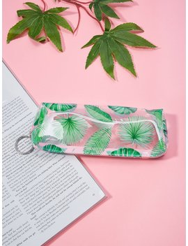 Tropical Leaf Print Pencil Case by Romwe