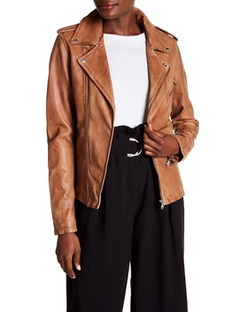Washed Leather Crop Moto Jacket by Lamarque