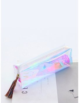 Iridescence Clear Pencil Case by Romwe