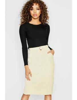 Tie Waist Cord Pencil Skirt by Boohoo