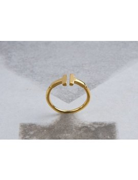 Gold Ring, T Ring, Solid Gold T, T Gold Ring, Minimalist Bar Ring, Double Bar Ring, T Letter Ring, Parallel Bar T Ring, Ring, Solid Gold by Etsy