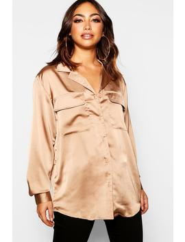 Satin Utility Shirt by Boohoo