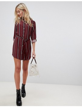 Parisian Stripe Shirt Dress by Parisian