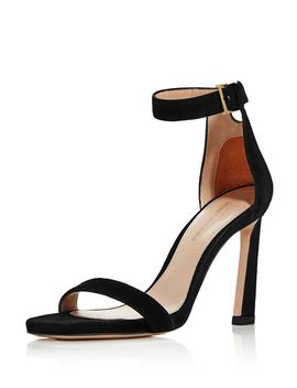 Women's Square Nudist Suede High Heel Sandals by Stuart Weitzman