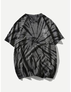 Men Letter Print Tie Dye Tee by Sheinside