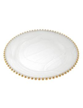 Gold Beaded 13 In. White Alabaster Handmade Glass Charger by Home Depot