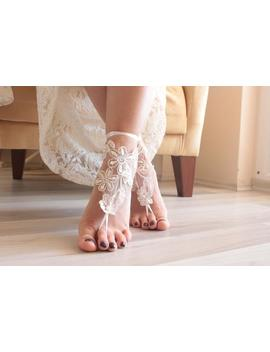Bridal Barefoot,Barefoot Sandals, Beach Wedding Lace Sandals, Bridal Shoes, Ivory Lace Sandals, Wedding Anklet, Bridesmaid Gift, by Etsy
