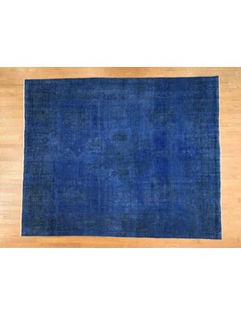 10'x12'3'' Hand Knotted Denim Blue Overdyed  Worn Turkish Tribal Rug by Etsy