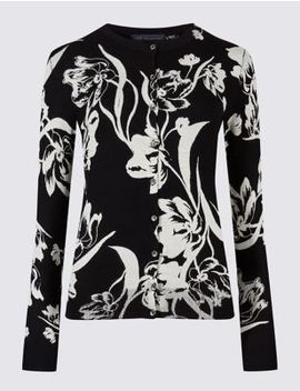 Floral Print Round Neck Cardigan by Marks & Spencer