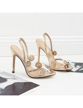 2018 New Summer Women Party Shoes Woman Pumps Sexy Transparent Glitter Peep Toe High Heels by Jojo Fox
