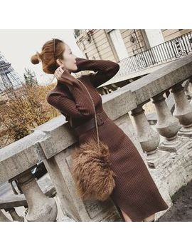 Century Girl   Long Sleeve Turtleneck Midi Sheath Knit Dress With Belt by Century Girl