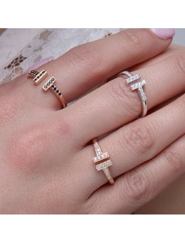 Solid Gold T, Double Bar Ring, 18k Parallel Bar Ring, 9k Ring Style T,  Rose T Ring, Open T Ring,  Letter T Ring,  Wide T Ring by Etsy