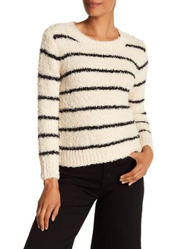 Fuzzy Striped Crew Neck Sweater by Vince