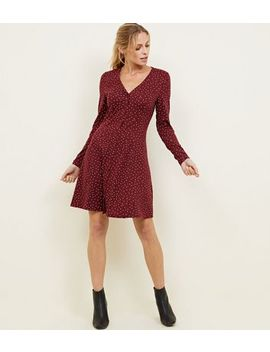 Burgundy Sport Print Long Sleeve Tea Dress by New Look