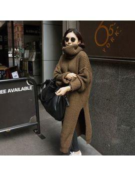 Sienne   Turtleneck Side Slit Midi Sweater Dress by Sienne
