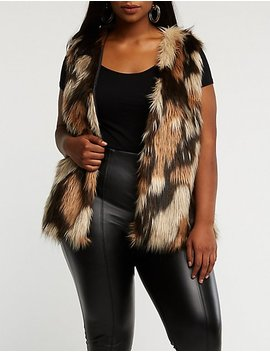 Plus Size Striped Faux Fur Vest by Charlotte Russe