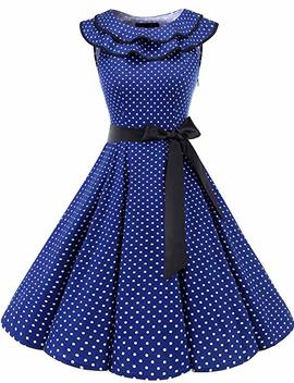Brides May Women's 1950s Vintage Rockabilly Flouncing Neckline Summer Dress Sleeveless Cocktail Party Dress by Amazon