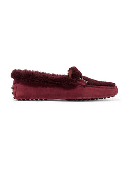 Gommini Suede And Shearling Loafers by Tod's