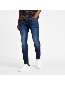 Dark Blue Danny Super Skinny Distressed Jeans by River Island