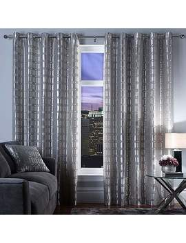 5 A Fifth Avenue Lexington Geo Silver Eyelet Curtains by Dunelm