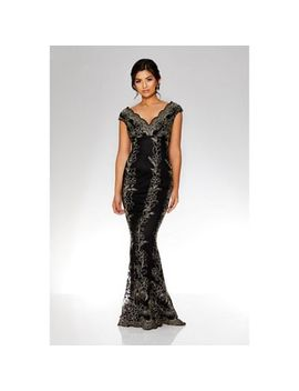 Quiz   Black And Gold Embroidered Scallop Fishtail Maxi Dress by Quiz