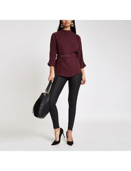 Dark Pink Loose Fit Cuffed Hem Belted Top by River Island