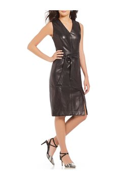 Luxury Collection Genuine Leather Tie Waist Jackie Dress by Antonio Melani