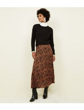 Rust Zebra Print Pleated Midi Skirt by New Look