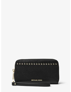Large Scalloped Leather Smartphone Wristlet by Michael Michael Kors