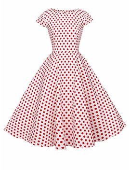 Fairy Couple 1950s Retro Rockabilly Polka Dot Cap Sleeves Prom Dress Drt019 by Amazon