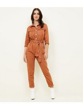 Rust Contrast Stitch Utility Boiler Jumpsuit by New Look