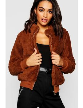 Teddy Faux Fur Crop Jacket by Boohoo