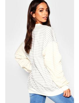 Stripe Contrast Sleeve Boyfriend Sweat by Boohoo