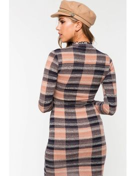 Casually Plaid Bodycon Dress by A'gaci
