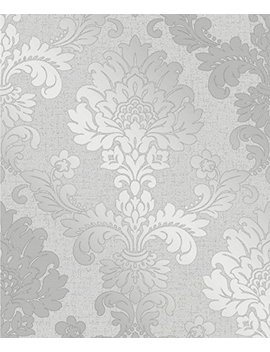 Fine Décor Fd41965 Quartz Damask Wallpaper, Silver by Fine Decor